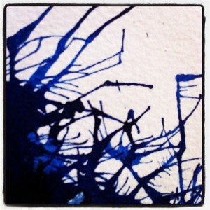 blue ink, tendrils, drips
