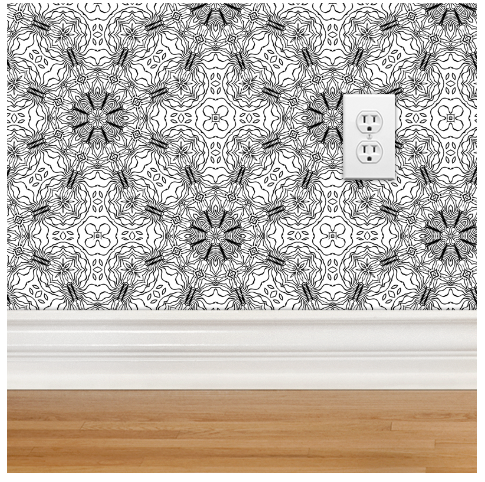 'Flowery' Anemone BW repeat as wallpaper via spoonflower