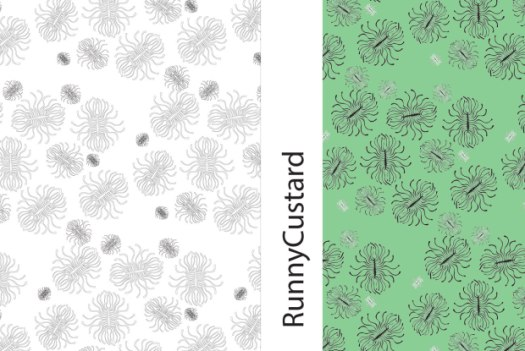 sea anemone repeat pattern in black/white and green bg.