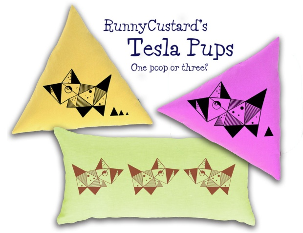 Tesla Pup cushion mockup