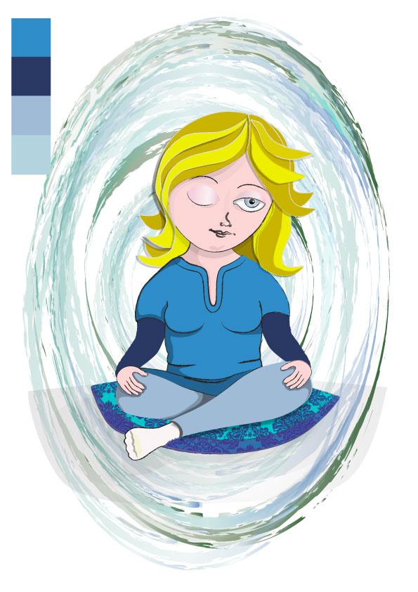 blue& blonde  version of meditating girl illustration