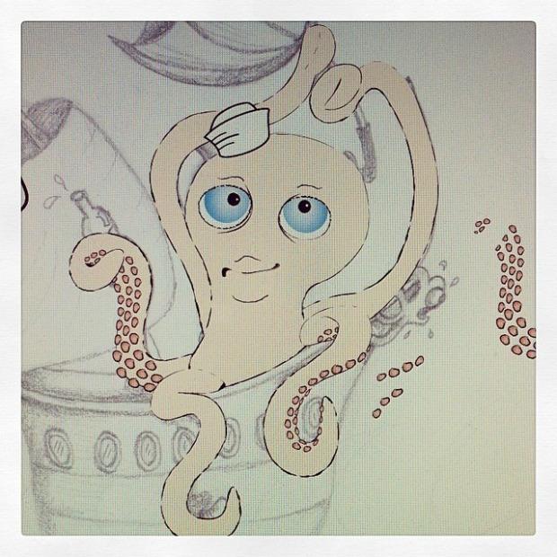 Octopus in Illustrator (mobile pic)