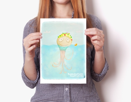 Octopus Swimming Champ with Rubber Ducky Cut and Fun Illustration - Children's Humour Wall Art Decoration