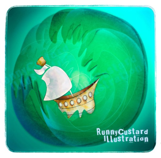 boat on stormy seas illustration.