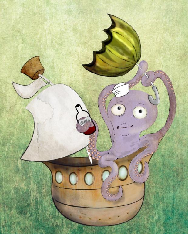 Octopus in boat illustration